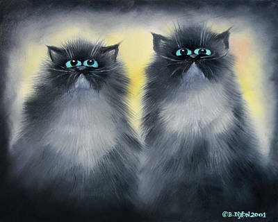 Humorous Cat Painting - 2 Smokies by Baron Dixon