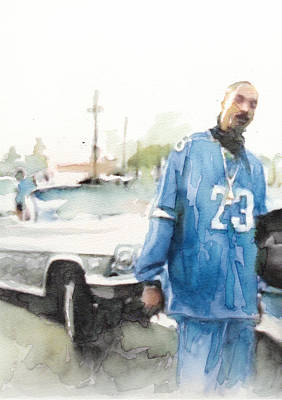 Beverly Hills Drawing - Snoop Detail by Jani Heinonen