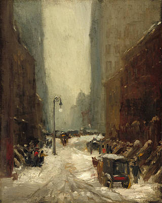 Buggy Painting - Snow In New York by Robert Henri