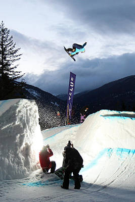 Snowboarder At The Telus Snowboard Festival Whistler 2010 Print by Pierre Leclerc Photography