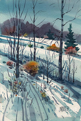 Meadow Painting - Snowy Hillside by Donald Maier