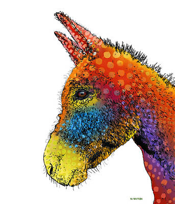 Spotted Donkey Print by Marlene Watson