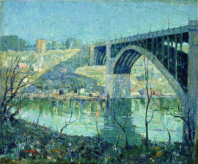 Spring Night. Harlem River Print by Ernest Lawson