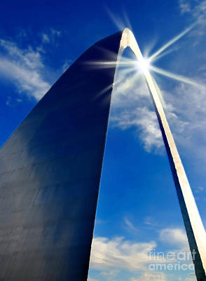 St. Louis Arch And Sun Reflection Print by Lane Erickson