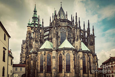 Praha Photograph - St. Vitus Cathedral, Prague, Czech Republic. Wide Angle. Vintage by Michal Bednarek