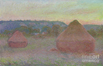 Stacked Painting - Stacks Of Wheat  End Of Day, Autumn by Claude Monet