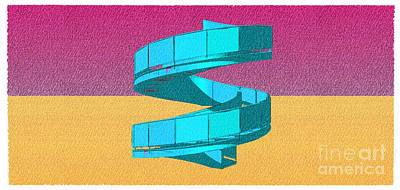 Empire State Building Drawing - Stair 05 Architecture Abstract Sketch Colorful Art  by Pablo Franchi