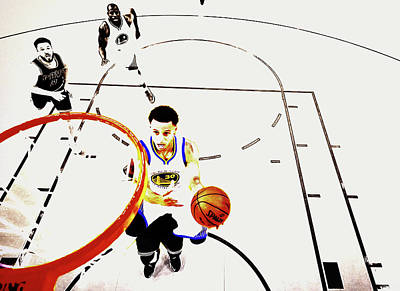 Deandre Mixed Media - Stephen Curry In Flight by Brian Reaves