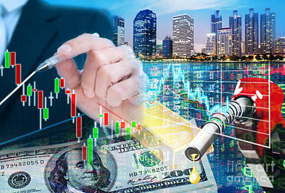 Chart Digital Art - Stock Market Concept by Setsiri Silapasuwanchai