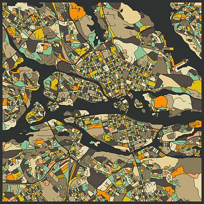 Stockholm Digital Art - Stockholm Map by Jazzberry Blue
