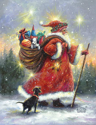 Christmas Painting - Strolling Santa II by Vickie Wade