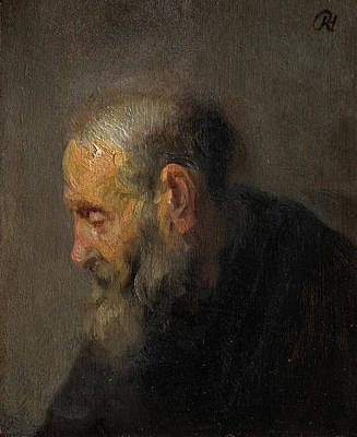 Aged Painting - Study Of An Old Man In Profile by Rembrandt van Rijn