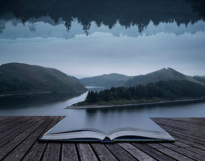 Stunning Impossible Puzzling Conceptual Landscape Image Of Lake  Print by Matthew Gibson