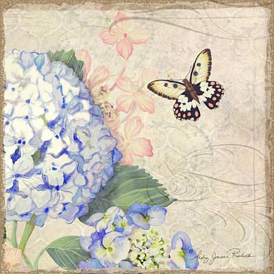 Summer Memories - Blue Hydrangea N Butterflies Print by Audrey Jeanne Roberts