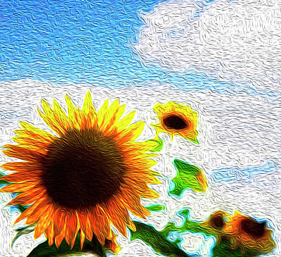 Nature Abstract Digital Art - Sunflowers Abstract by Les Cunliffe