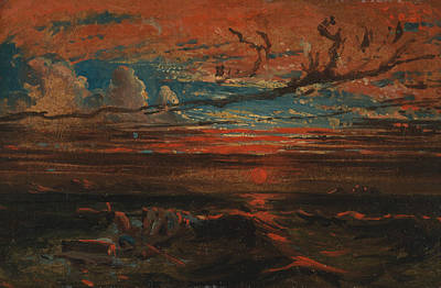 Sunset At Sea After A Storm Print by Francis Danby