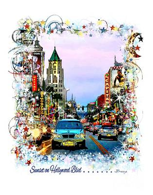Sunset On Hollywood Blvd Print by Jennie Breeze