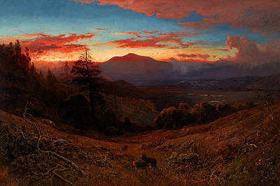 Sunset On Mount Diablo Print by William Keith