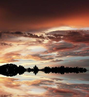 Cloudscape Digital Art - Sunset Reflections by Jessica Jenney