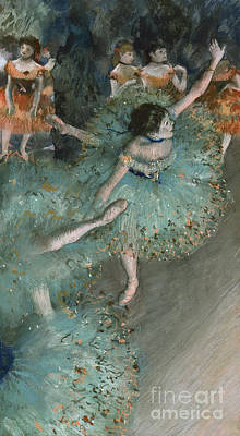 Swaying Dancer  Dancer In Green Print by Edgar Degas