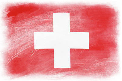 Swiss Flag Print by Les Cunliffe