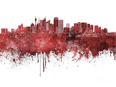 Sydney Skyline Painting - Sydney V2 Skyline In Watercolor Background by Pablo Romero