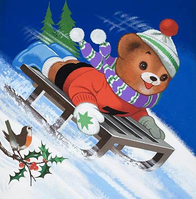 Berry Drawing - Teddy Bear Sleigh Ride by William Francis Phillipps
