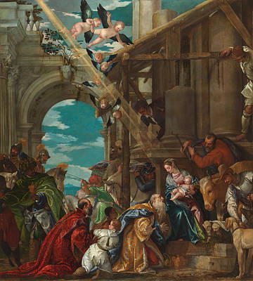 Nativity Painting - The Adoration Of The Magi by Paolo Veronese