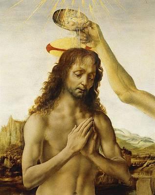 The Baptism Of Christ Print by Leonardo Da Vinci