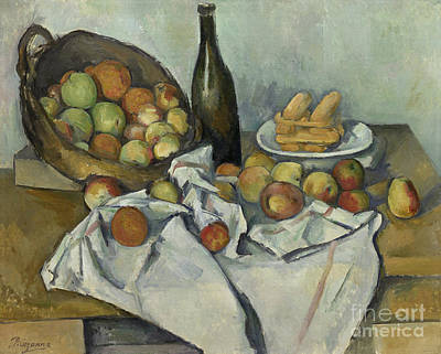 Wine Glasses Painting - The Basket Of Apples, by Paul Cezanne