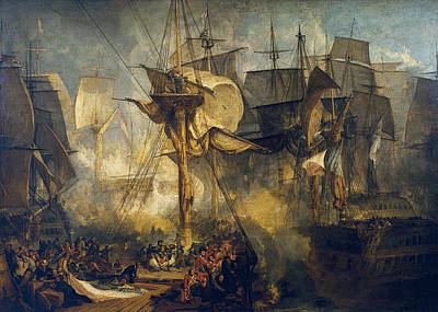 Conflict Painting - The Battle Of Trafalgar by JMW Turner
