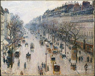 The Boulevard Montmartre On A Winter Morning Print by Celestial Images