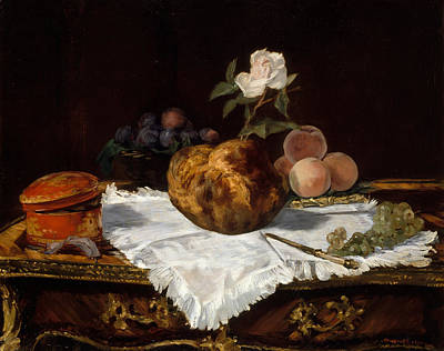 Peaches Painting - The Brioche by Edouard Manet
