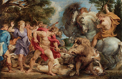 Boar Painting - The Calydonian Boar Hunt by Peter Paul Rubens