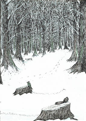 Squirrel Drawing - The Castle In The Forest Of Findhorn by Vincent Alexander Booth