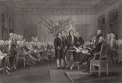 Philadelphia Drawing - The Declaration Of Independence by American School