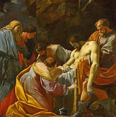 Simon Vouet Painting - The Entombment by Simon Vouet