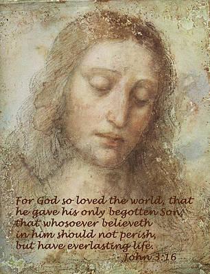 Jesus Christ Digital Art - The Head Of Christ by Leonardo da Vinci