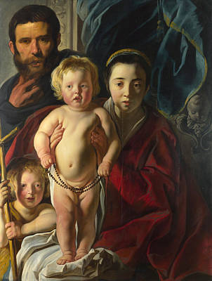 Baby Painting - The Holy Family And Saint John The Baptist by Jacob Jordaens