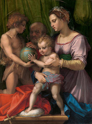 Baptism Painting - The Holy Family With The Young Saint John The Baptist by Andrea del Sarto