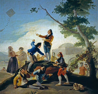 Puppy Painting - The Kite by Francisco Goya