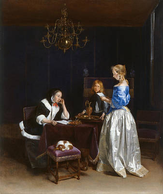 Puppy Painting - The Letter by Gerard ter Borch