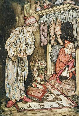 Stockings Drawing - The Night Before Christmas by Arthur Rackham