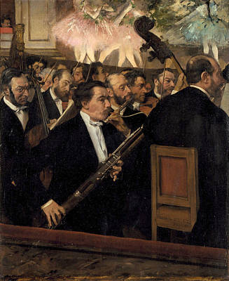 Man Painting - The Opera Orchestra by Edgar Degas