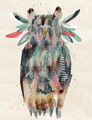 Barns Digital Art - The Owl by Bri B