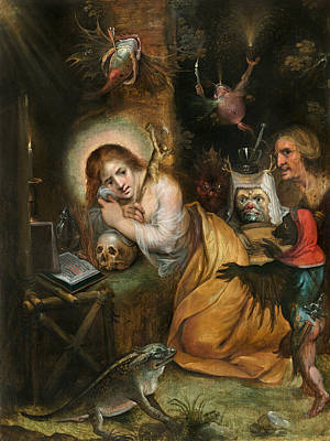 Mary Magdalene Painting - The Penitent Mary Magdalene Visited By The Seven Deadly Sins by Frans Francken the Younger