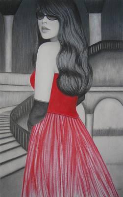 Villa Mixed Media - The Red Dress by Lynet McDonald