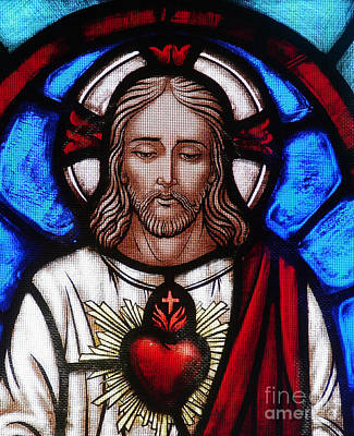 Iconography Photograph - The Sacred Heart Of Jesus by French School