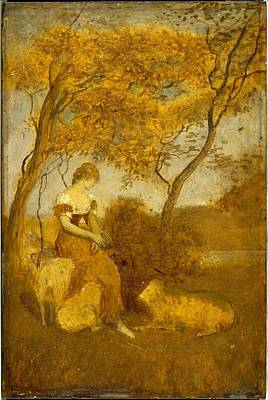 1880s Painting - The Shepherdess by MotionAge Designs