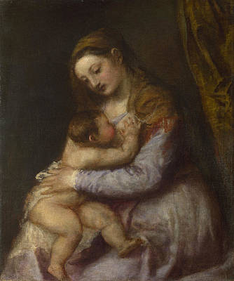 Baby Painting - The Virgin Suckling The Infant Christ by Titian